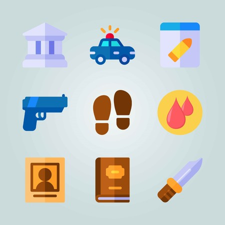 Icon set about Crime Investigation. with blood drops, law book and knife