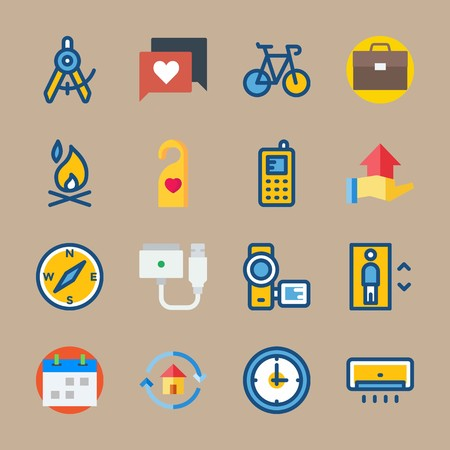 Icon set about Travel. with smart phone, clock and bonfire Çizim