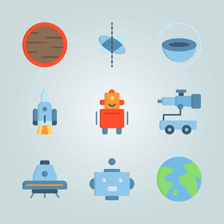 Icon set about Universe with telescope car, circles and planet earth Vettoriali