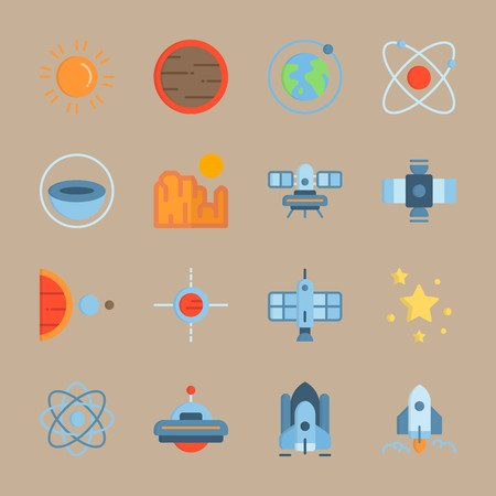 Icon set about Universe. with red, grand canyon and mars
