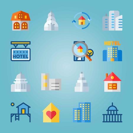 Icon set about Construction. avec appartements, maison et terrasse Banque d'images - 94536331