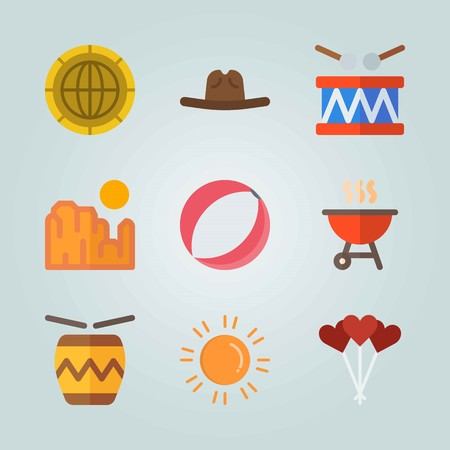 Icon set about United States. with drum, ball and barbecue Illustration