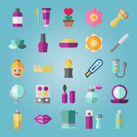 Icon set about Beauty. with shaver machine, toothbrush and glass
