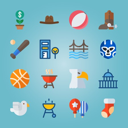 icon set about United States with helmet, cowboy boot, balloons, grill and telephone cab