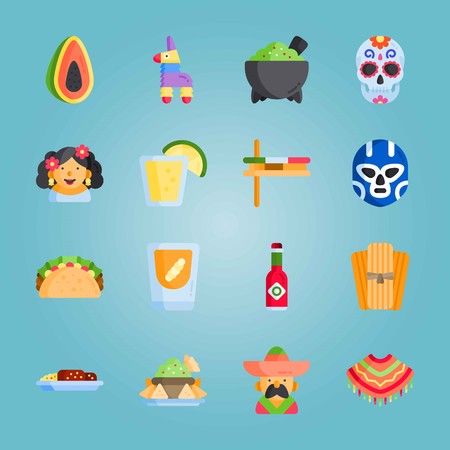 Icon set about Mexican Holiday De Mayo. with mexican man, taco and mole poblano Illustration