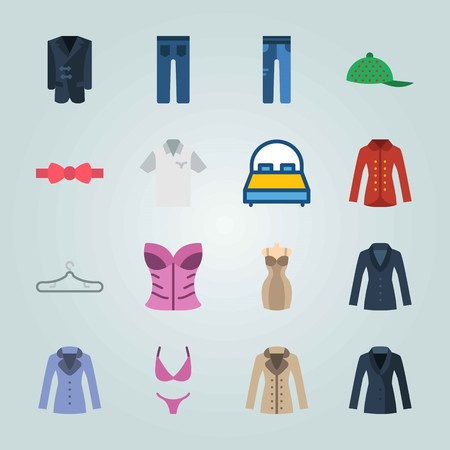 Icon set about Clothes And Accessories. with coat, hanger and bag Иллюстрация