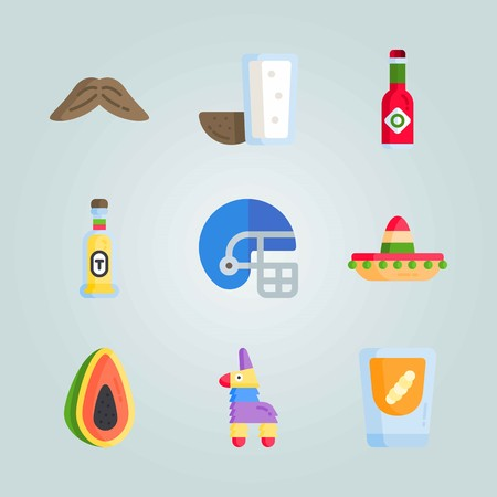Icon set about Mexican Holiday De Mayo. with helmet, mezcal and mexican hat Illustration