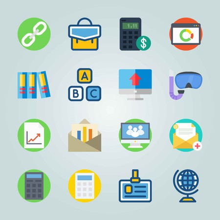 Icon set about Education And School. with dollar, cubes and social website
