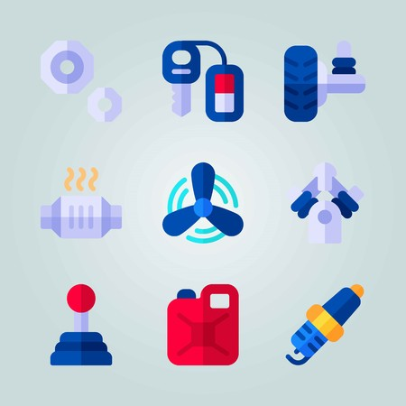 Icon set about Car Engine. with canister, gear and nut