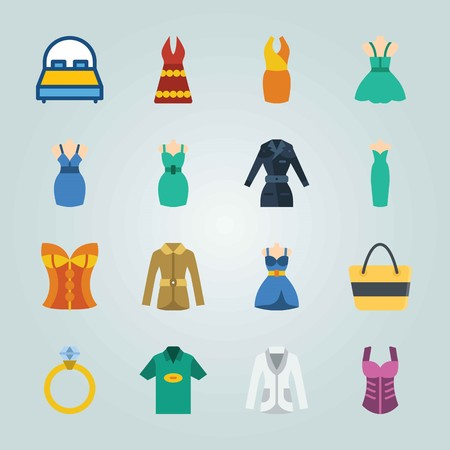 Icon set about Clothes And Accessories. with bed, sand bag and corset Иллюстрация