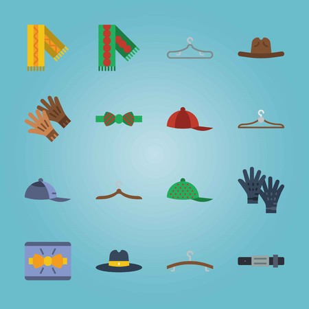 Icon set about Man Accessories. with yellow scarf, fedora hat and gloves