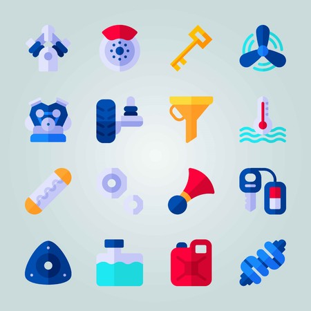 Icon set about Car Engine. with water box, canister and suspension