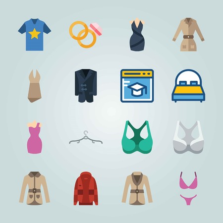 Icon set about Clothes And Accessories. with cap, bra and bikini