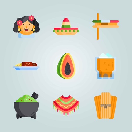 Icon set about Mexican Holiday De Mayo. with musical instrument, mexican woman and mexican hat