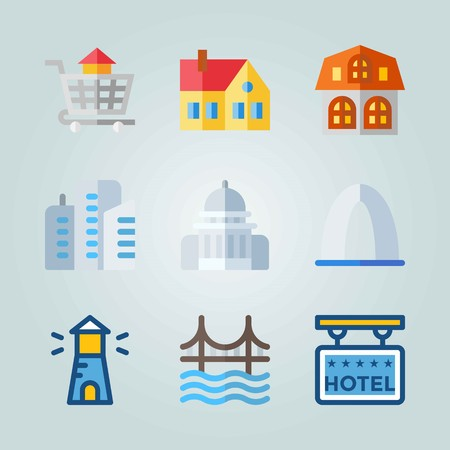 Icon set about Construction. with lighthouse, 5 stars hotel and entrance