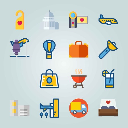 Icon set about Travel. with aircraft, airport and barbecue Illustration