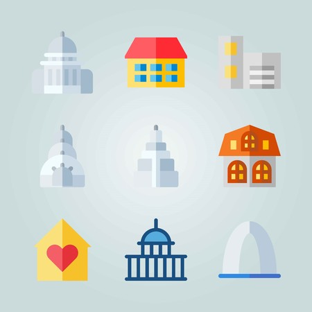 Icon set about Construction with home, capitol and buildings