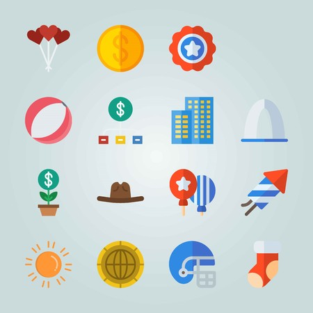 Icon set about United States. with cowboy hat, lolly and coin Illustration