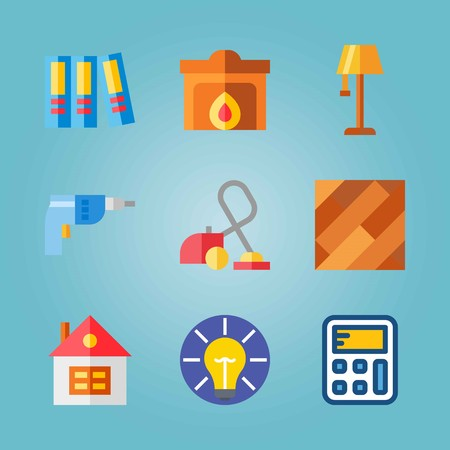 Icon set about Real Assets. with hearth, lamp and driller Vettoriali