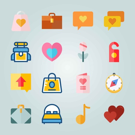 Icon set about Wedding. with invitation card, ccompass and heart in heart