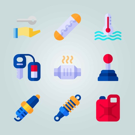 Icon set about Car Engine with catalytic converter, gear and can