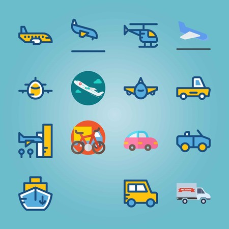 Icon set about Transport with pink car, medical airplane and airplane Ilustracja
