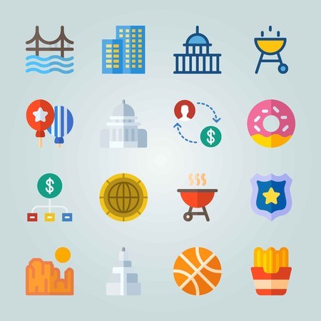 Icon set about United States. with money, lolly and donut Illustration