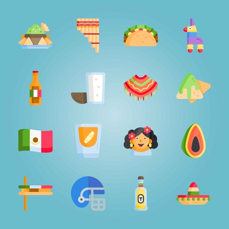 Icon set about Mexican Holiday De Mayo. with mezcal, zampona and pulque