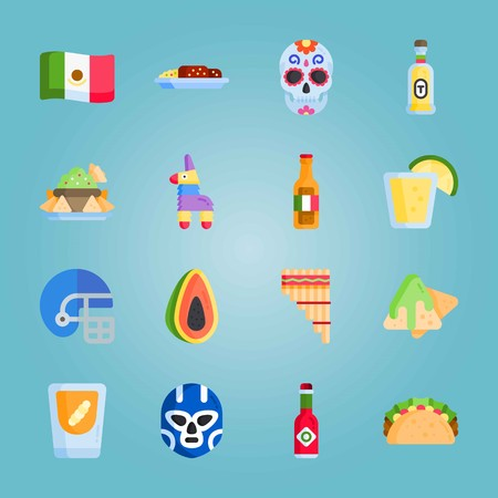 Icon set about Mexican Holiday De Mayo. with american football, nachos and mexican flag