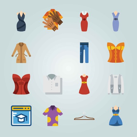 Icon set about Clothes And Accessories. with jeans, cap and shirt