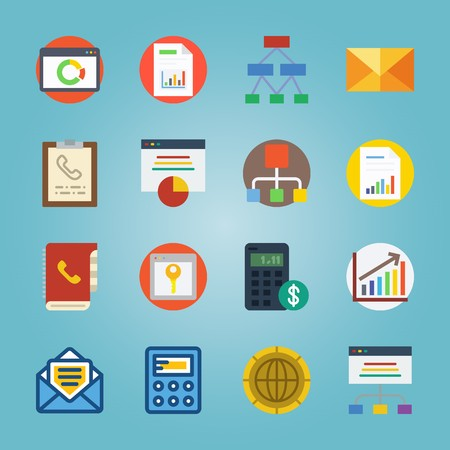 icon set about Marketing with analytic in colours, diagram, letter, list of columns and file