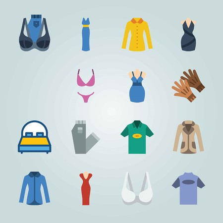 Icon set about Clothes And Accessories. with shirt, dress and bag Иллюстрация