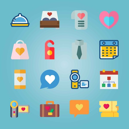 Icon set about Wedding. with bed, tie and heart