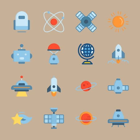 Icon set about Universe. with planet saturn, spacecraft and saturn Zdjęcie Seryjne - 94642767