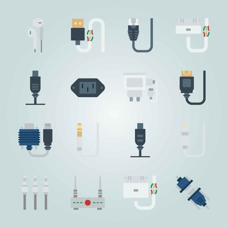 Icon set about Connectors Cables. with dvi, jack connector and headphones Vettoriali