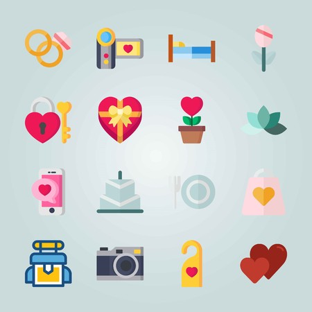 Icon set about Wedding. with photo camera, camcorder and wedding rings Ilustrace