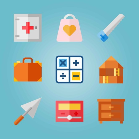 Icon set about Real Assets. with box, bag and calculator