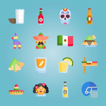 Icon set about Mexican Holiday De Mayo. with mexican hat, mexican beer and mexican man Illustration