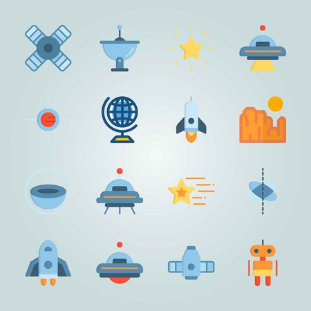 Icon set about Universe. with spacecraft, planet and red Zdjęcie Seryjne - 94543628