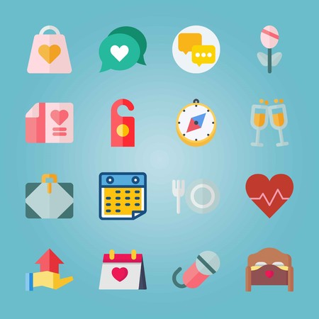 Icon set about wedding with direction, chat and rose. Illustration