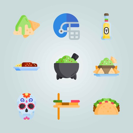 Icon set about Mexican Holiday De Mayo. with nachos, mexican sauce and musical instrument Vectores