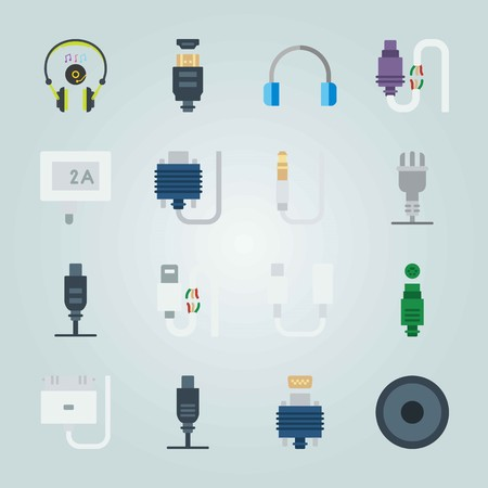 Icon set about Connectors Cables with jack connector, plug and digital visual interface
