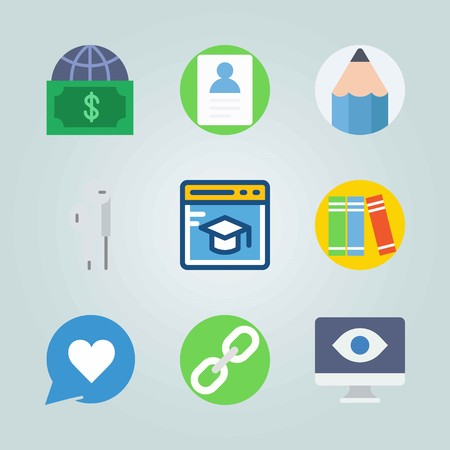 Icon set about Digital Marketing with chains, headphones and computer 矢量图像
