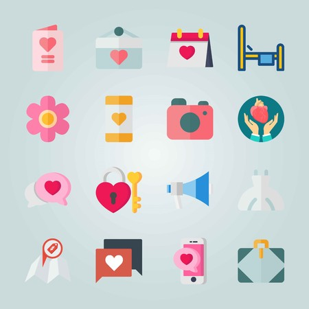 Icon set about Wedding with photo camera, microphone and chat Иллюстрация