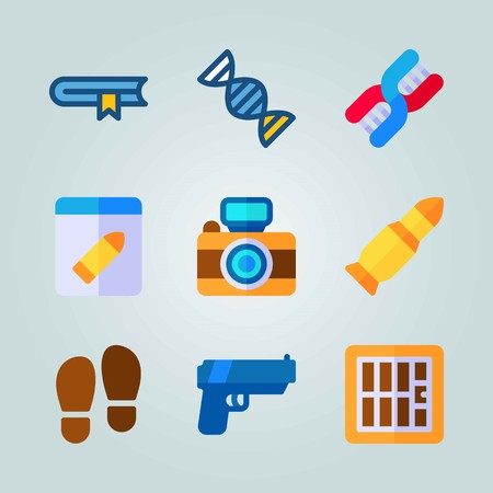 Icon set about Crime Investigation with blue gun, DNA and foot print