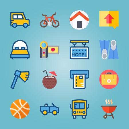icon set over Reizen met bijl, cabriolet, barbecue, hulp en off-road