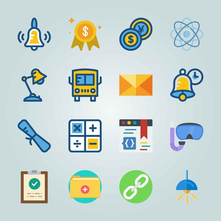 Icon set about Education And School with diploma, calculator and letter Illustration