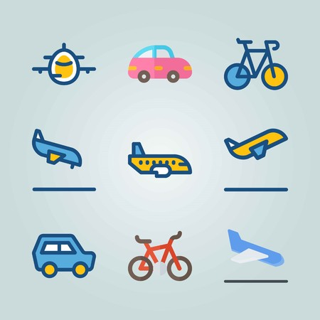 Icon set about Transport with bicycle, airplane and departure