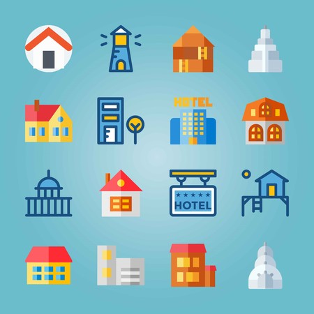 Icon set about Construction with home, hotel and empire state building