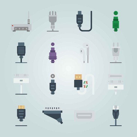 Icon set about Connectors Cables. with hdmi , usb and cable